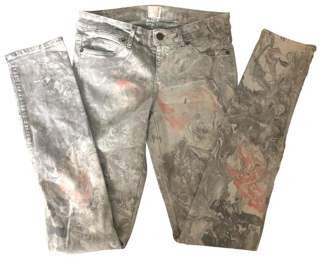 Item - Green and Peach Marbleized Skinny Jeans Size 4 (S, 27)