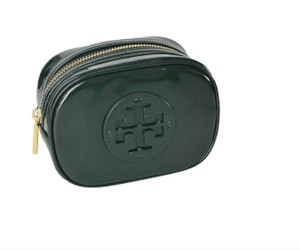 Tory Burch NWT TORY BURCH STACKED PATENT SMALL COSMETIC CASE BAG CLUTCH GREEN