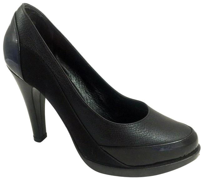 Item - Black Leather Patent Tyler Slip On Slim Heel Pumps Size US 7 Regular (M, B)