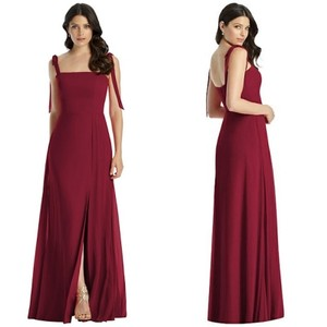 Dessy Red Burgundy Collection 3042 Gown Long Full Length Modern Bridesmaid/Mob Dress Size 0 (XS)