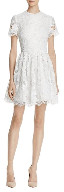 Alice + Olivia White Karen Lace Fit Flare Short Cocktail Dress Size 8 (M) Alice + Olivia White Karen Lace Fit Flare Short Cocktail Dress Size 8 (M) Image 1