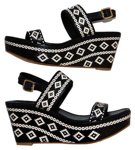Tory Burch Black Cream Wedges