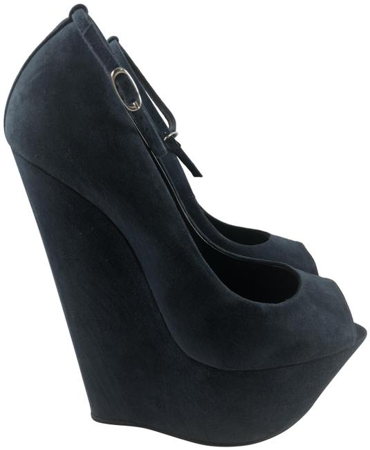 "Item - Suede Navy 6"" Wedges Size EU 38.5 (Approx. US 8.5) Regular (M, B)"
