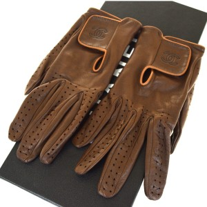 Chanel Brown Cc Logos Golf Leather #7 Made In France Gloves