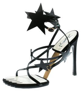 Saint Laurent Patent Leather Ankle Black Sandals