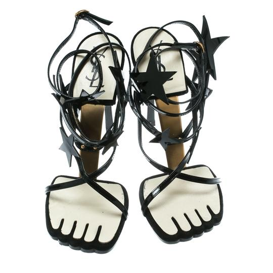 Saint Laurent Patent Leather Ankle Black Sandals Image 2
