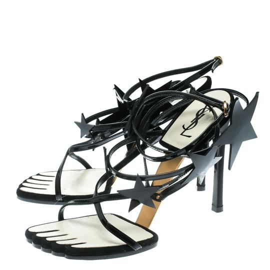 Saint Laurent Patent Leather Ankle Black Sandals Image 4