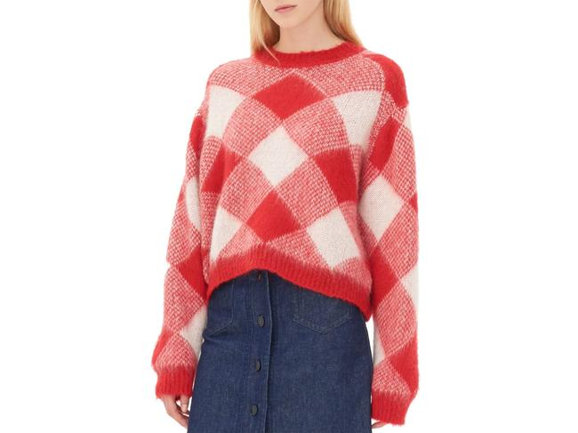 Sandro Plaid Check Mohair Sweater Image 1