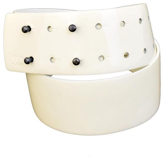 Chanel CHANEL CUIR VERIT ABLE Logos Belt Patent Leather White Image 0