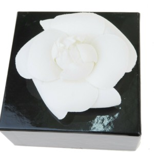 Chanel White Camellia Canvas France Brooch/Pin