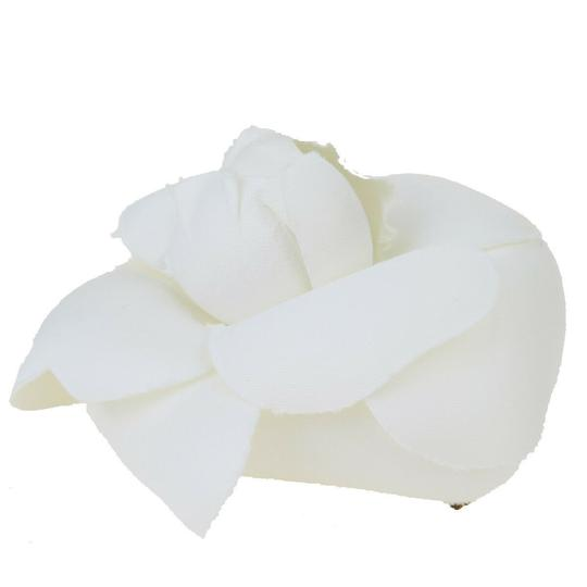 Chanel White Camellia Canvas France Brooch/Pin Image 1