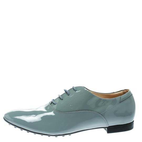 Tod's Patent Leather Lace Up Grey Flats Image 1