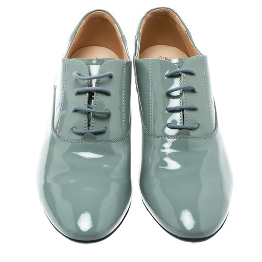 Tod's Patent Leather Lace Up Grey Flats Image 2