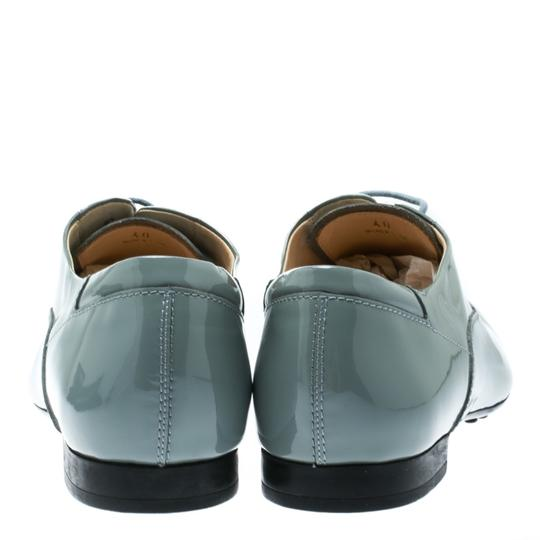 Tod's Patent Leather Lace Up Grey Flats Image 3