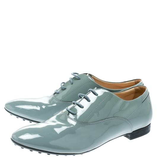 Tod's Patent Leather Lace Up Grey Flats Image 4