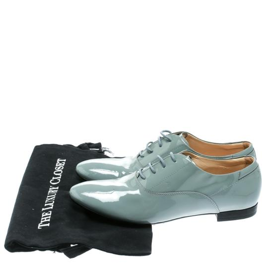 Tod's Patent Leather Lace Up Grey Flats Image 7