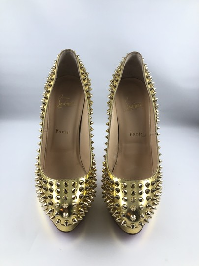 Christian Louboutin Platform Red Sole Gold with spikes Pumps Image 1