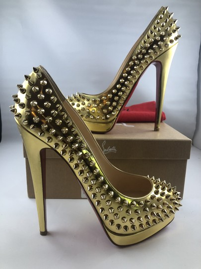 Christian Louboutin Platform Red Sole Gold with spikes Pumps Image 2