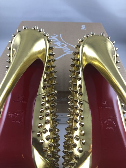 Christian Louboutin Platform Red Sole Gold with spikes Pumps Image 4