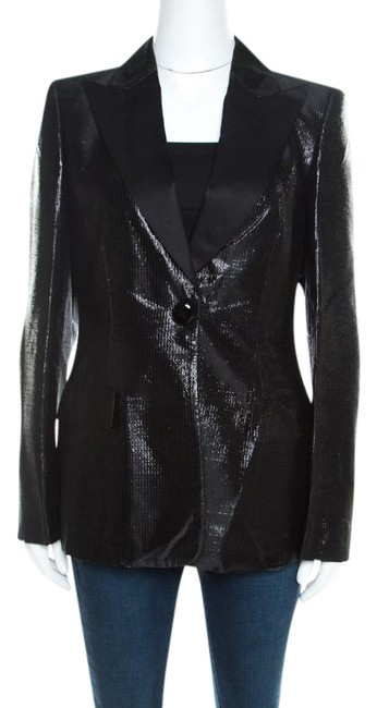 Preload https://img-static.tradesy.com/item/26161805/escada-black-metallic-satin-trim-tailored-blazer-size-10-m-0-1-650-650.jpg