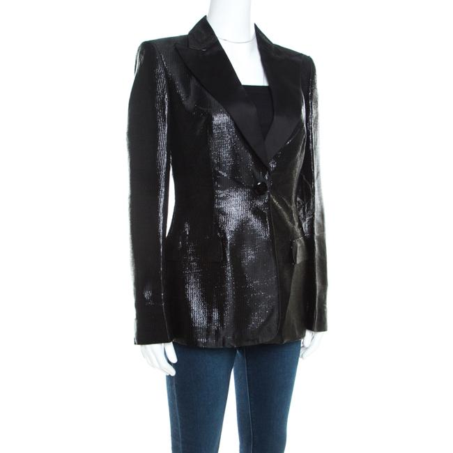 Escada Satin Tailored Viscose Black Blazer Image 1