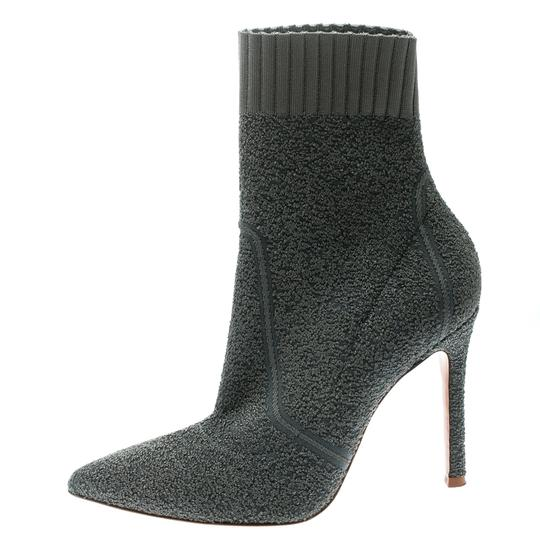 Gianvito Rossi Pointed Toe Ankle Knit Grey Boots Image 1