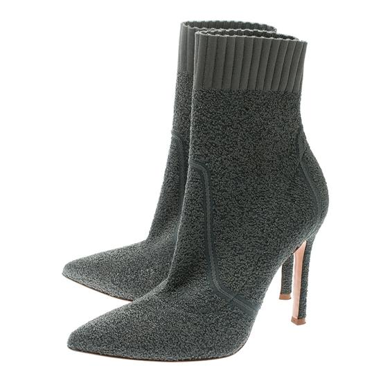 Gianvito Rossi Pointed Toe Ankle Knit Grey Boots Image 4