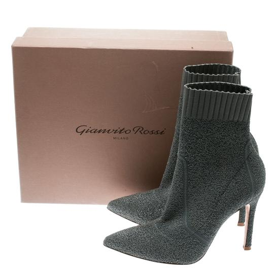 Gianvito Rossi Pointed Toe Ankle Knit Grey Boots Image 7