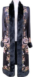 Sue Wong Vintage Embroidered Faux Fur Trim Silk Trench Coat