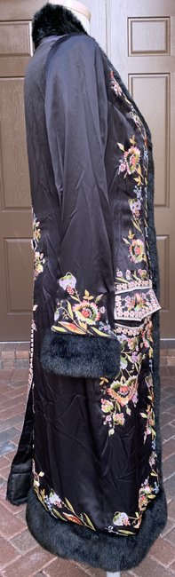 Sue Wong Vintage Embroidered Faux Fur Trim Silk Trench Coat Image 1
