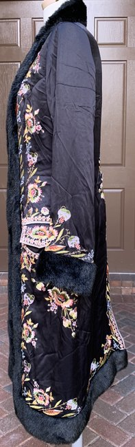 Sue Wong Vintage Embroidered Faux Fur Trim Silk Trench Coat Image 2