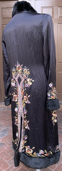 Sue Wong Vintage Embroidered Faux Fur Trim Silk Trench Coat Image 3