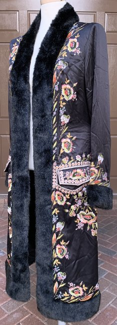 Sue Wong Vintage Embroidered Faux Fur Trim Silk Trench Coat Image 4
