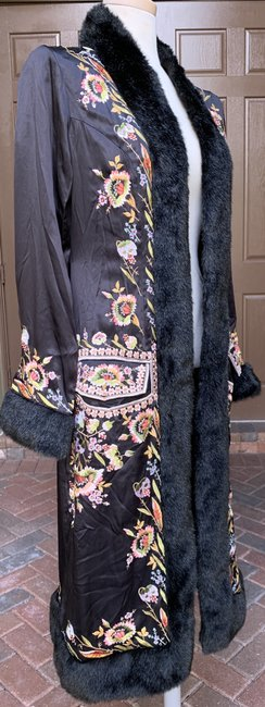 Sue Wong Vintage Embroidered Faux Fur Trim Silk Trench Coat Image 5