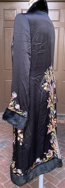 Sue Wong Vintage Embroidered Faux Fur Trim Silk Trench Coat Image 6