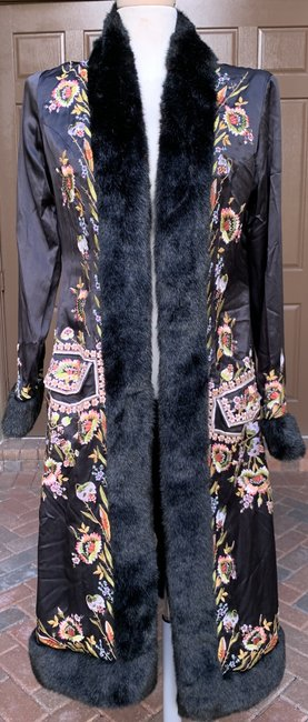 Sue Wong Vintage Embroidered Faux Fur Trim Silk Trench Coat Image 7