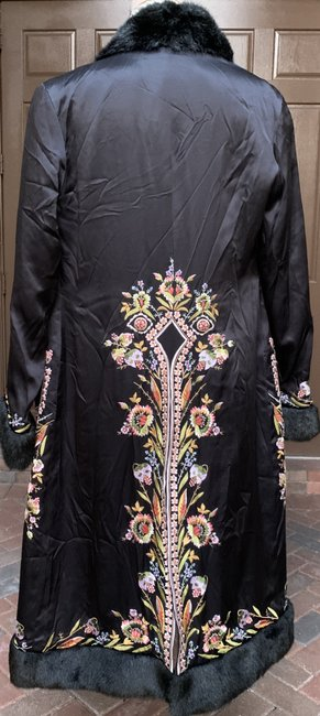 Sue Wong Vintage Embroidered Faux Fur Trim Silk Trench Coat Image 8