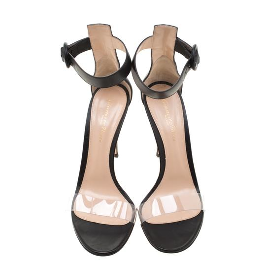 Gianvito Rossi Leather Pvc Ankle Strap Open Toe Black Sandals Image 1