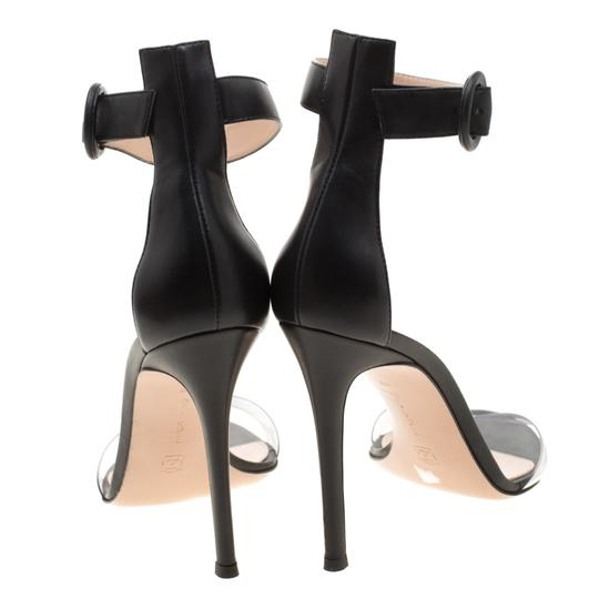 Gianvito Rossi Leather Pvc Ankle Strap Open Toe Black Sandals Image 2