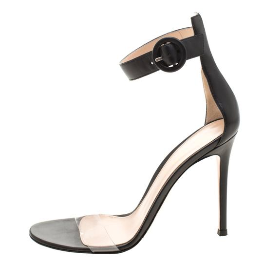 Gianvito Rossi Leather Pvc Ankle Strap Open Toe Black Sandals Image 3