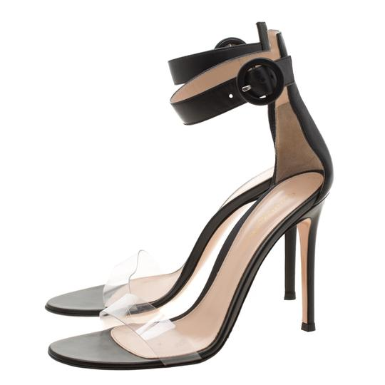 Gianvito Rossi Leather Pvc Ankle Strap Open Toe Black Sandals Image 4