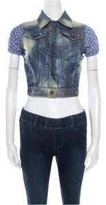 Dsquared2 Distressed Contrast Vest Womens Jean Jacket