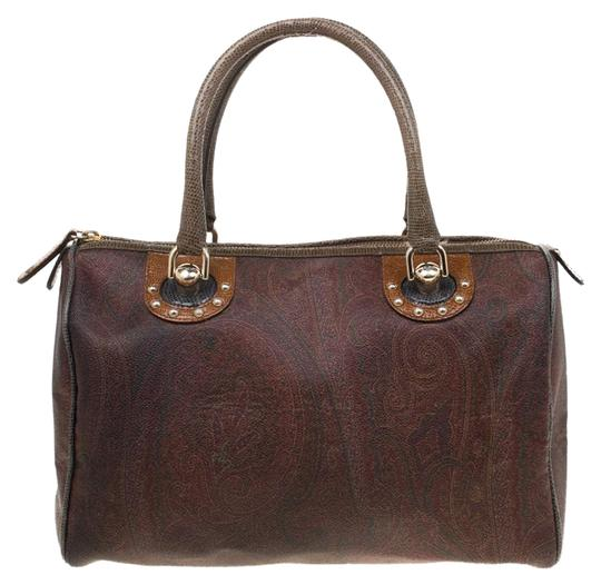 Etro Paisley Canvas Satchel in Brown Image 0