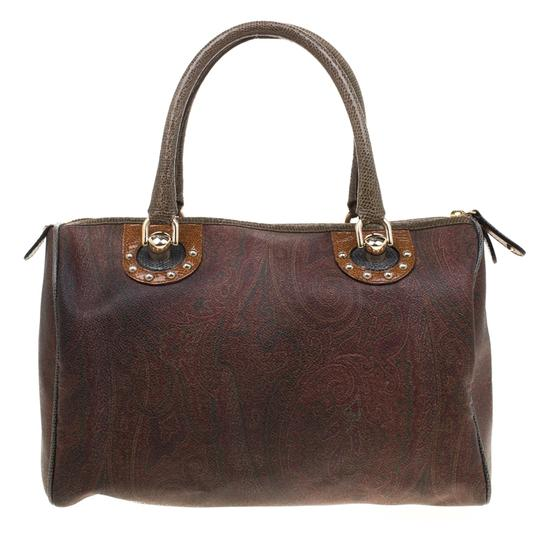 Etro Paisley Canvas Satchel in Brown Image 1