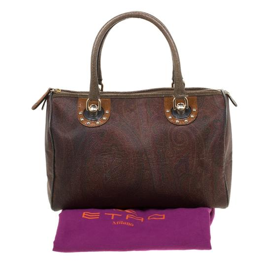 Etro Paisley Canvas Satchel in Brown Image 11