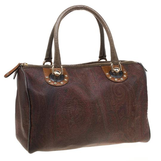 Etro Paisley Canvas Satchel in Brown Image 3