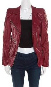 Marc Jacobs Leather Quilted Shoulder Red Womens Jean Jacket