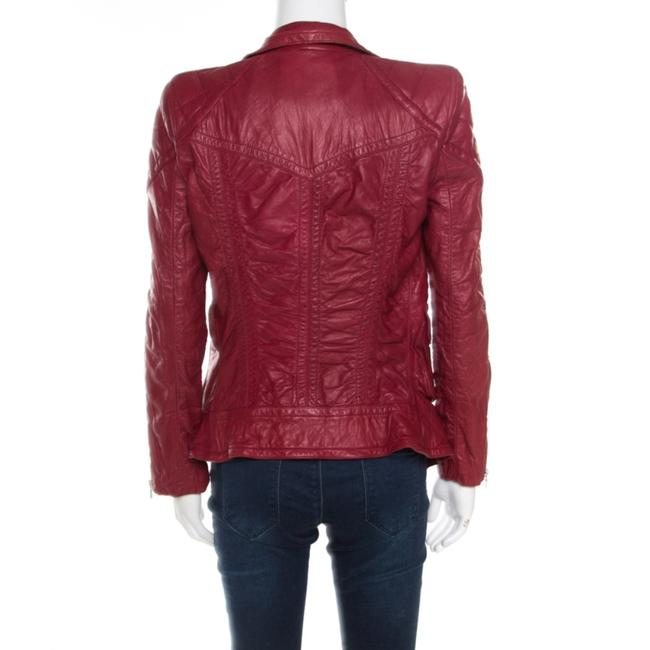 Marc Jacobs Leather Quilted Shoulder Red Womens Jean Jacket Image 1