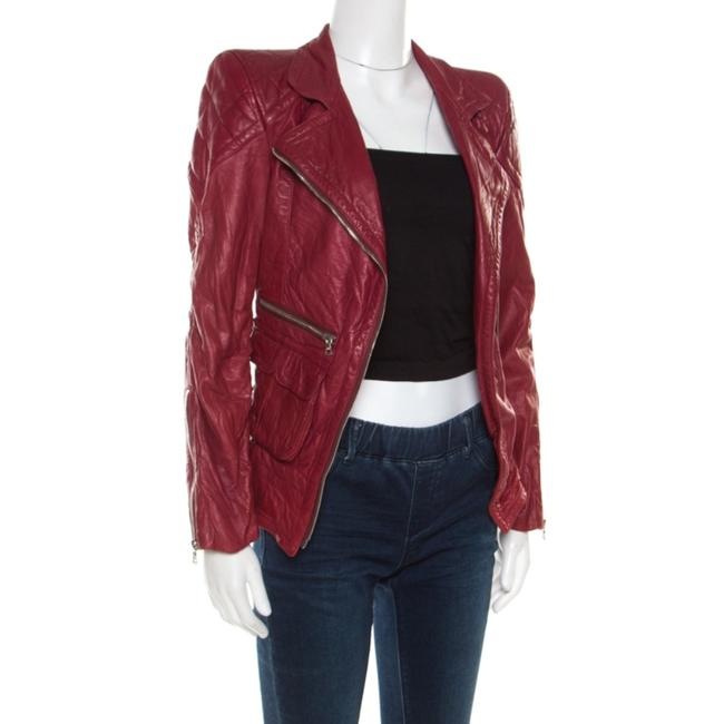 Marc Jacobs Leather Quilted Shoulder Red Womens Jean Jacket Image 2