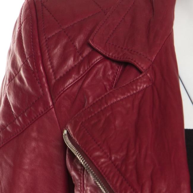 Marc Jacobs Leather Quilted Shoulder Red Womens Jean Jacket Image 3